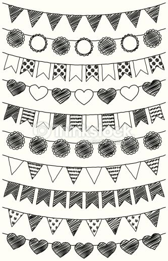 Vector Set of Hand Drawn Doodle Bunting, including triangle, flag, round and heart shapes. No transparencies or gradients used. Large JPG included. Each bunting is grouped for easy editing.