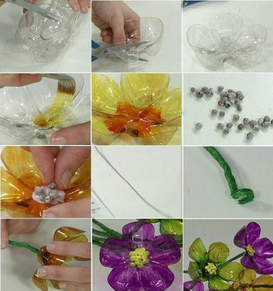 59 best plastic bottle resin flower images on pinterest for Handicrafts made of plastic bottles