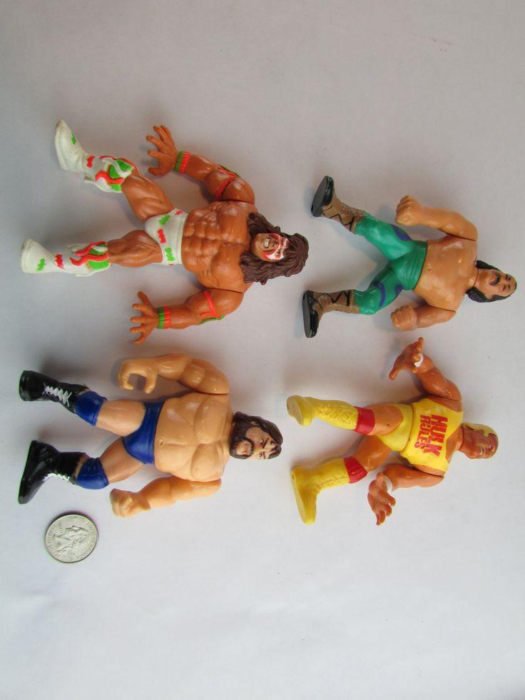 "Lot Of 4 1990's Titan Sports 5"" WWE Moveable Wrestling Action Figures - Hulk Hogan Jake The Snake Ultimate Warrior Hacksaw Jim Duggan by Cosmokra on Etsy"