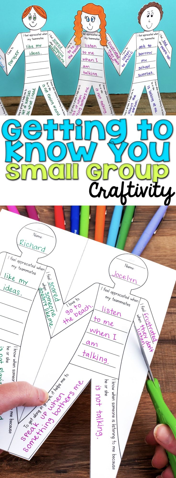 This Getting to Know You Small Group Craftivity is a fun way to help students establish themselves within small groups, table groups, or as a whole class. Cut them apart, glue on a head, and display. #workwithasmallgroup