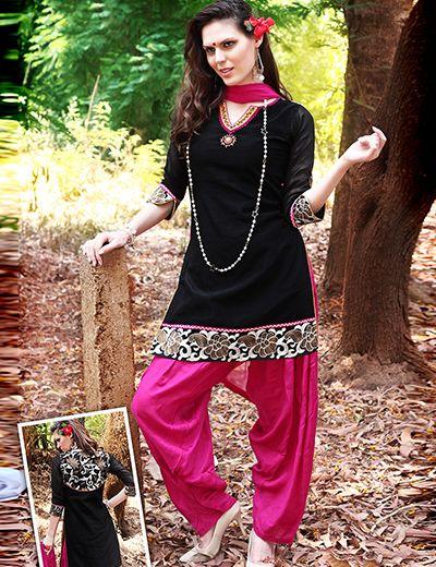 G3fashions Black cotton readymade Punjabi salwar suit Products code: G3-WSS3445 Price: ₹ 3910.00
