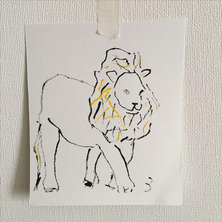 ライオンのイラスト 水彩絵の具