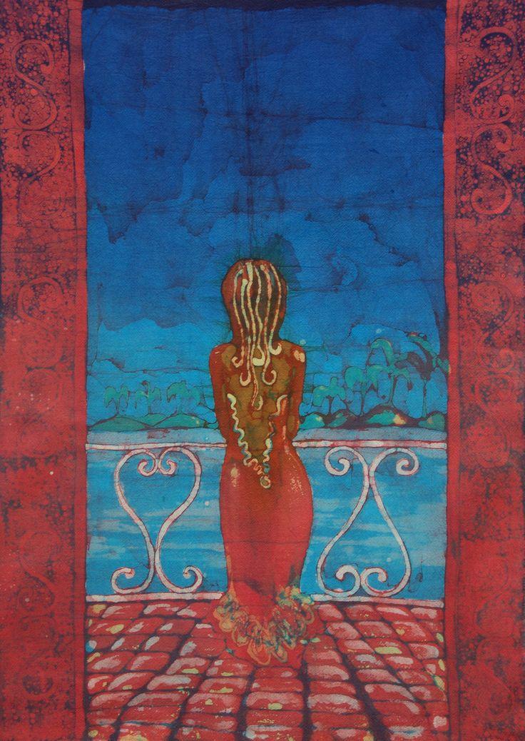 Caribe. Técnica: Batik sobre algodón. Dimensiones: 50x70 cm.