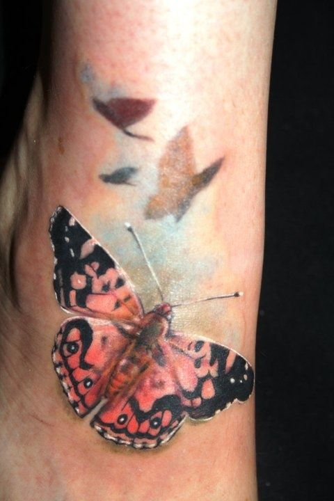 Realistic Butterfly Tattoo - Laura Juan - http://inkchill.com/realistic-butterfly-tattoo/