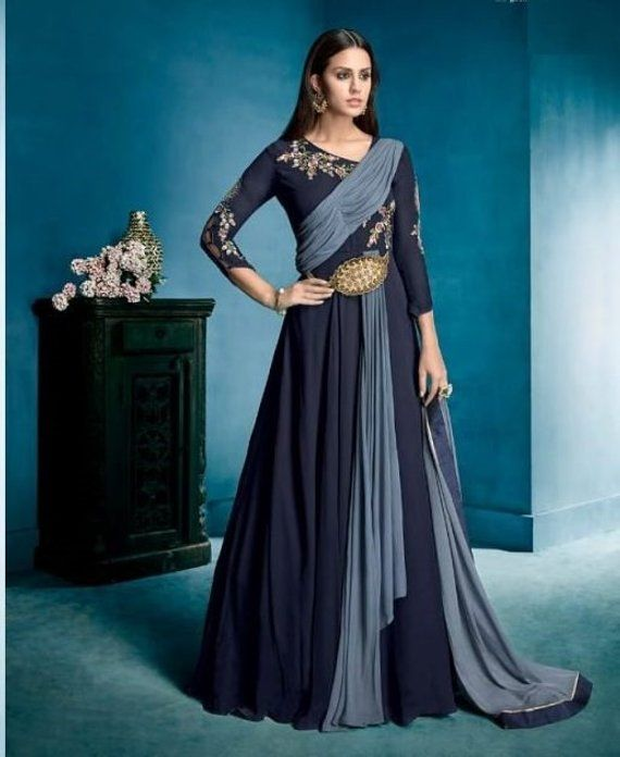 9408252bf14 Designer Exclusive Beautiful Indian Gown - Embroidered Georgette Fashion Wear  Dress - Indian Ethnic