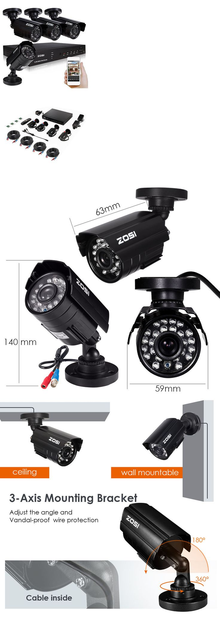 best 25 cctv security systems ideas on pinterest cctv security How To Wire A Security Camera System surveillance security systems zosi 4 channel 720p dvr 1500tvl outdoor ir home cctv security camera how to wire a security camera system