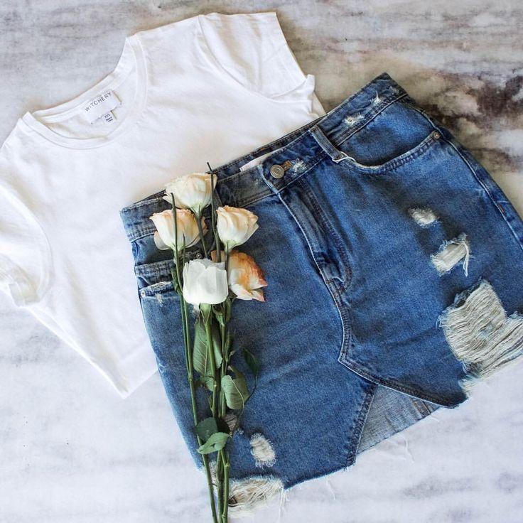 Denim skirt and white tee @thelustlife_