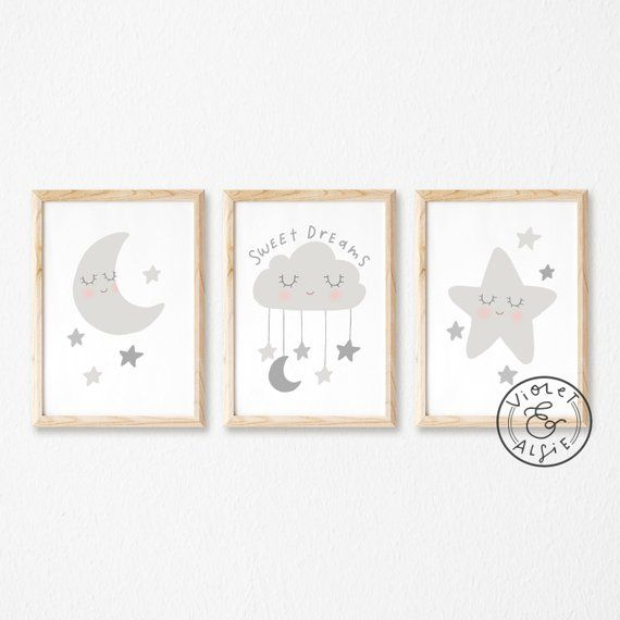 Happy Moon and Stars Print 8 x 10 Inches Nursery Lunar Art Unframed