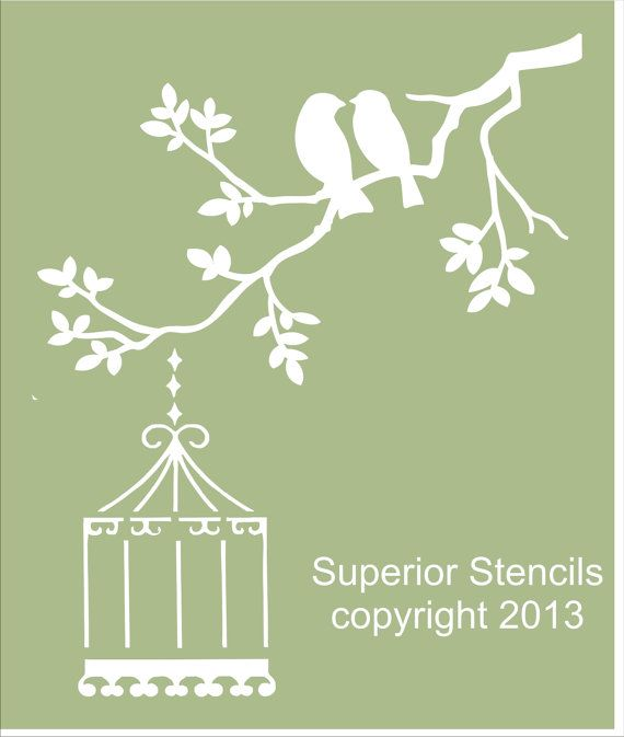 "Stencils ""Two BIRDS on Branch Stencil Design - 4 sizes available- Create Birds with Bird Cage! More"
