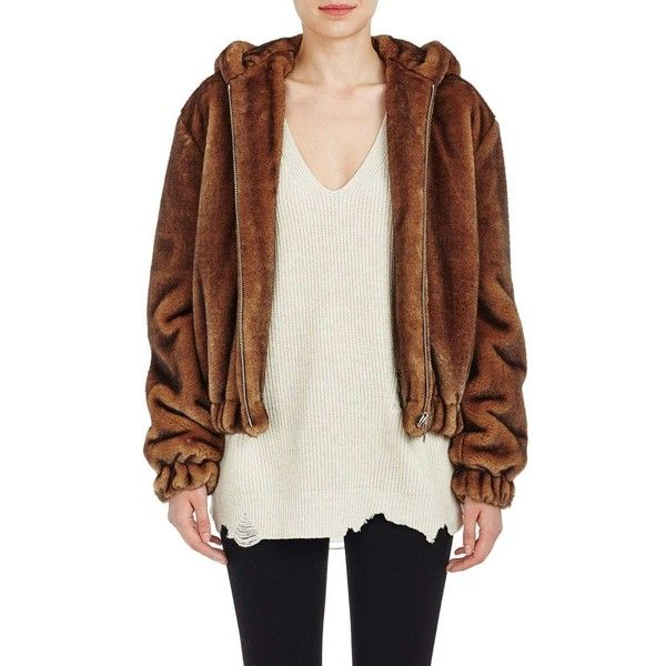 Helmut Lang Women's Faux-Fur Hooded Bomber Jacket (880 CAD) ❤ liked on Polyvore featuring outerwear, jackets, brown, white bomber jacket, faux fur hood jacket, brown bomber jacket, faux fur hooded jacket and style bomber jacket