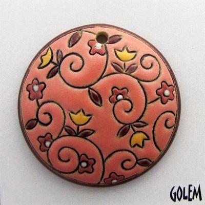 Handmade Ceramic Pendant--Round, flowers on Light Salsa