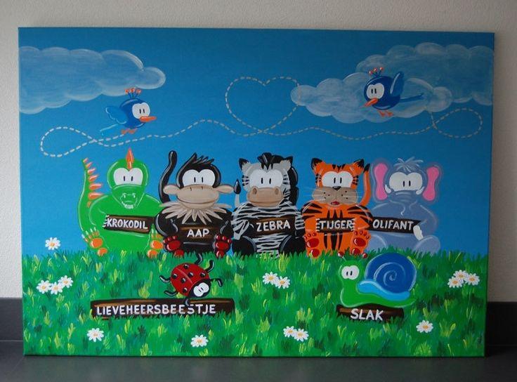 Kinderschilderij Beessies dierentuin dieren 100 x 70 cm