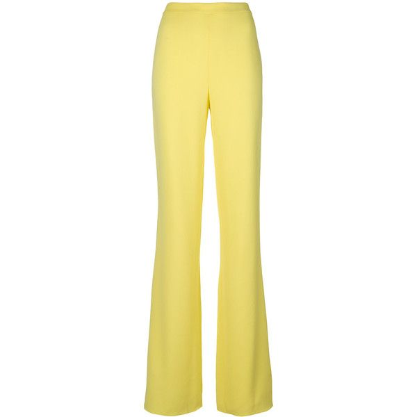 Emilio Pucci flared wide-leg trousers ($705) ❤ liked on Polyvore featuring pants, flared trousers, emilio pucci pants, wide leg flare pants, pastel pants and beige pants