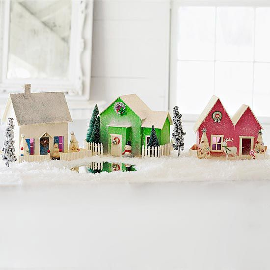 Craft a Mini Holiday Village: A sophisticated alternative to the version made from gingerbread and candy, this tiny village is crafted from sturdy mat board or cardstock and embellished with paint, glitter, and seasonal delights.