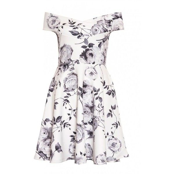 Cream and Grey Floral Print Bardot Skater Dress (€30) ❤ liked on Polyvore featuring dresses, floral day dress, creme dress, floral printed dress, floral dresses and floral pattern dress