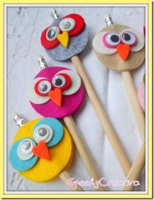 Adorable felt pencil toppers. Would make for a fun party favor or activity, or…
