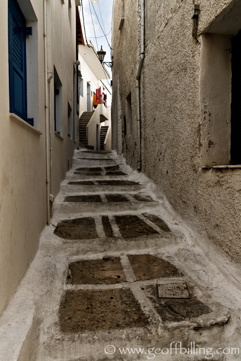 Narrow streets of Ios, Greece