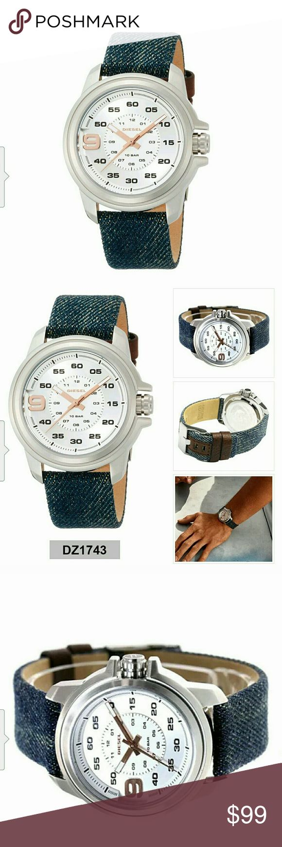 Men's Diesel Watch DZ1743 $274 Diesel Watch DZ1743  Retail Price : US$ 247.00  Made:  Dial Color: Silver Dial Bracelet Color: Blue Gender: Mens Style: Sport Display: Analog Case diameter: 43 (with crown) x 40 (W) x 10 mm (thickness) Face Height: 32 mm Lug Width: 20 mm Max Length: 220 mm Circumference Water Resistant: 100 Meter 10 Bar Movement: Quartz : Battery Movement Country: Japan Case: Stainless-Steel Case Bracelet: Nylon Strap Clasp: Buckle Caseback: Stainless-Steel Hand: Luminous Hands…