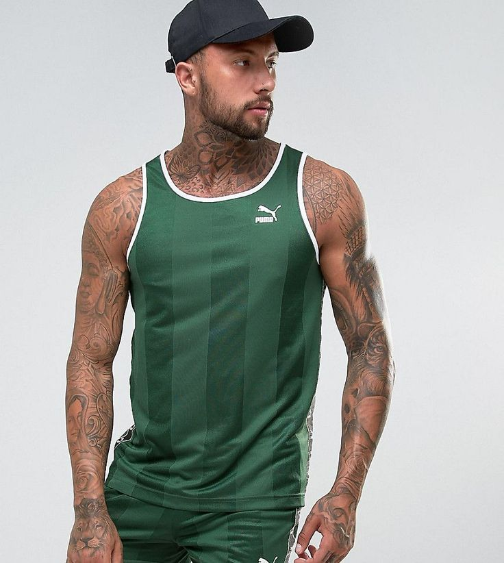 Puma Retro Soccer Tank In Green Exclusive to ASOS 57657902 - Green