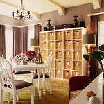 Kishani Perera - dens/libraries/offices - gray, purple, walls, purple, drapes, purple boxes, white, desk, white, table, chairs, green, floral, rug, painted, wood beams, ikea expedit, expedit bookcase, ikea expedit bookcase, white ikea bookcase, white ikea expedit bookcase, Ikea EXPEDIT,