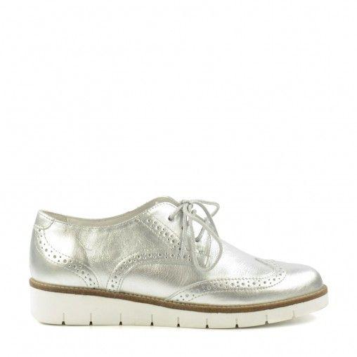 Chaussures richelieu métallisées à plateforme