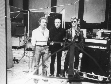 "Fripp, Eno and Bowie in the Meistersaal at Hansa Studios, Berlin, during the recording of ""Heroes"""