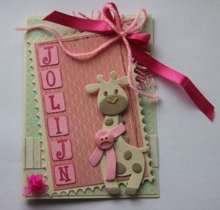 Gemaakt door Joke # geboren: Jolijn, babykaart met giraffe