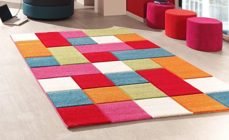 Teppich bunt quadrate  Maschinenwebteppich Teppich Karos / Bunt Karol 1 | Zilly Teppich ...