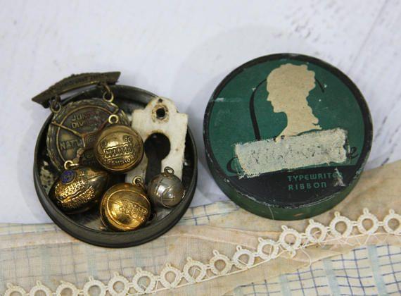 Vintage Lot Underwood Typewriter Ribbon Tin Sport Charms