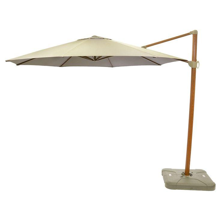 11' Offset Sunbrella Umbrella - Canvas Taupe (Brown) - Medium Wood Finish - Smith & Hawken