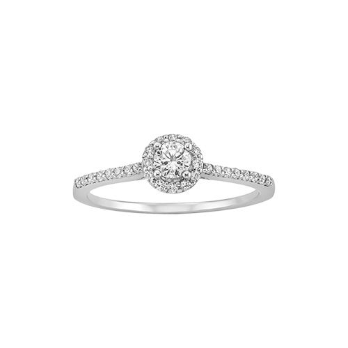 $799 Littmans 14 karat white gold ring features a 1/5 carat round diamond center stone with a halo of diamonds.
