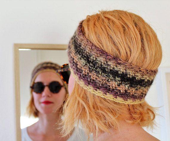 FREE SHIPPING Brown knit headband Wide knit ear warmer Wool