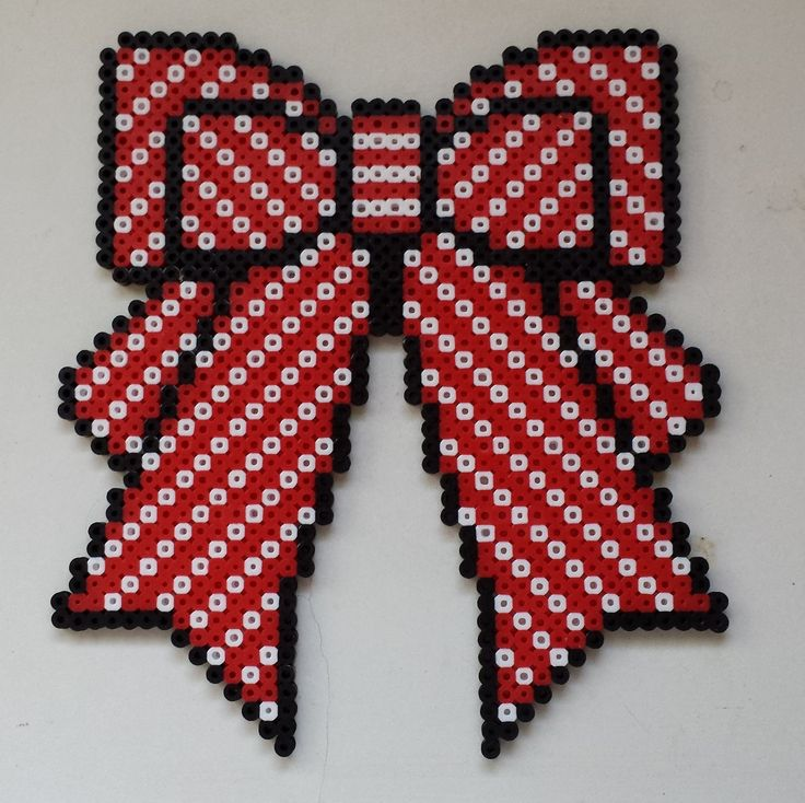 Week 29, Day 199, Bow.  365 Day Perler Bead Challenge.
