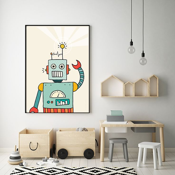 Hello Robbo Robot! Super fun print for boy's room from our Victor Fox collection of prints.