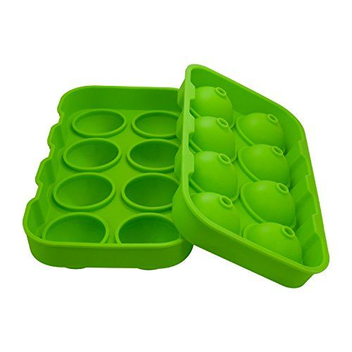 SPHTOEO Ice Ball Maker Mold Green Flexible Silicone Ice Tray Molds 4 X 4.5cm Round Ice Ball Spheres  SIMPLY THE BEST ICE BALL MAKER FOR THE MONEY - Large 4 x 4.5 cm (1.78 inch) ball capacity shapes the best ice spheres that are slower melting than traditional ice cubes; It's proven that round ice lasts longer  HIGHEST QUALITY SILICONE ICE MOLD - 100% BPA Free food grade silicone ice cube tray with lid; FDA approved  FLEXIBLE ICE MAKER TRAY - Silicone ice trays won't crack or break like...