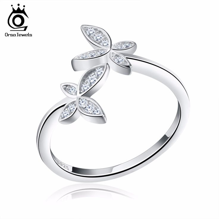 ORSA JEWELS Silver 925 Adjustable Women Rings Crystal Flower Design Sterling Silver Fashion Simulated Diamond Jewelry SR10