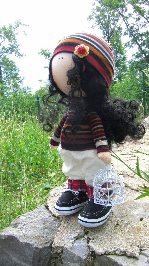 Annie Doll-Handmade Doll-Fabric Doll-Rag Doll-Textile Doll-Handmade Doll-Home…