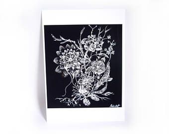 Awesome Ink Drawing, Fine Art Print, Flowers, Botany, Pen And Ink Drawing,
