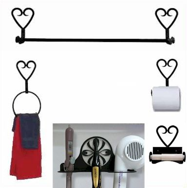 Wrought Iron Bath Sets, Towel Bars, Towel Rings, Hair Dryer Racks and Toilet Tissue Holders with several silhouettes to choose from.