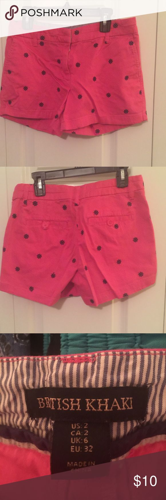 British Khaki Shorts Pink with Blue British Khaki Shorts