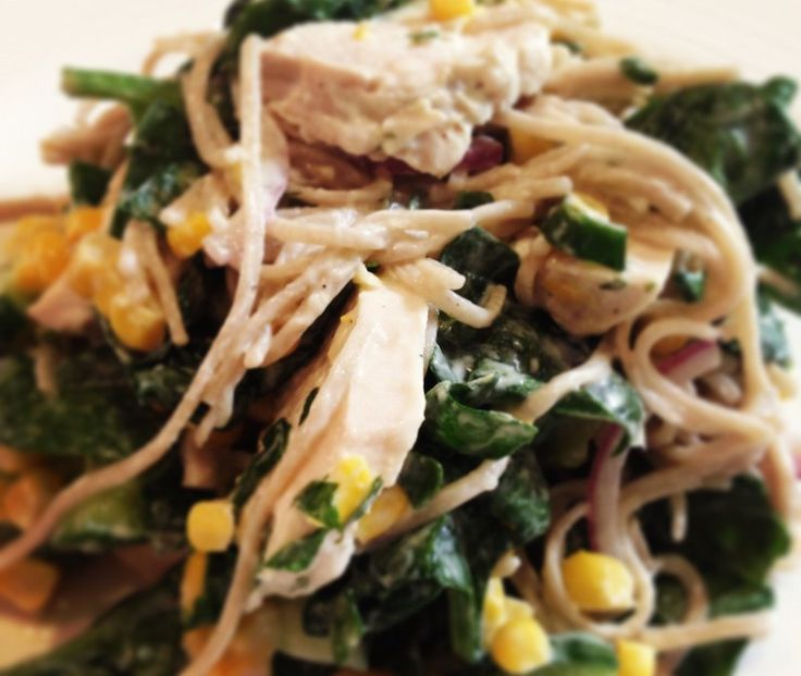 Fresh Corn and Poached Chicken Salad with Creamy Herb Dressing