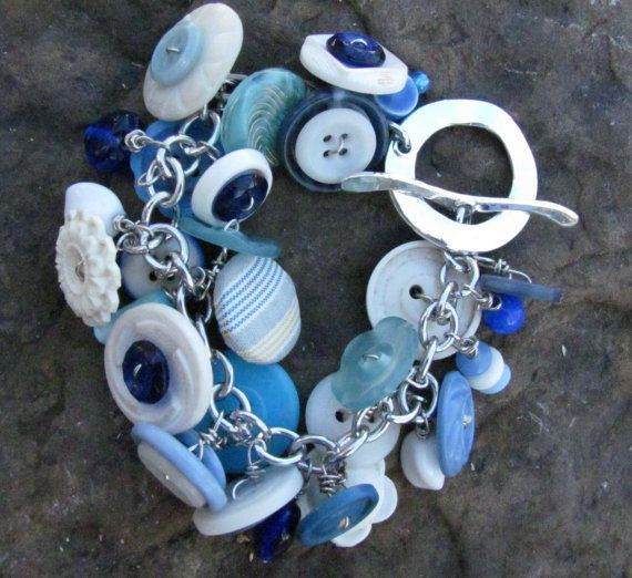 love the use of buttons: White Buttons, Charm Bracelets, Buttons Crafts, Buttons Charms, Design Ideas, Buttons Bracelets, Charms Bracelets, Blue Buttons, Blue And White