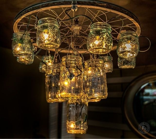 14 Light Diy Mason Jar Chandelier Rustic Cedar Rustic Wood: A Chandelier Made Out Of A Bike Wheel, Fishing Hooks And