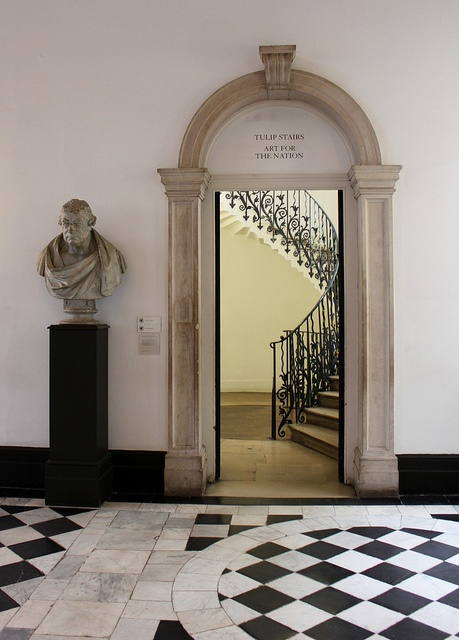Black and White and English all over...The Queen's House, Greenwich...The Great Hall & 'Tulip' Stairs