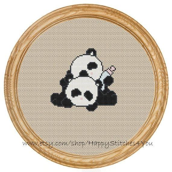 Cross Stitch Pattern PDF panda DD0012 by HappyStitches4You on Etsy