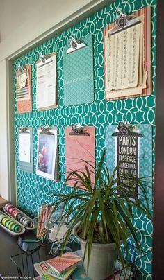 I like the clipboard idea- can hold a lot and get the papers off of the surfaces where they create clutter.