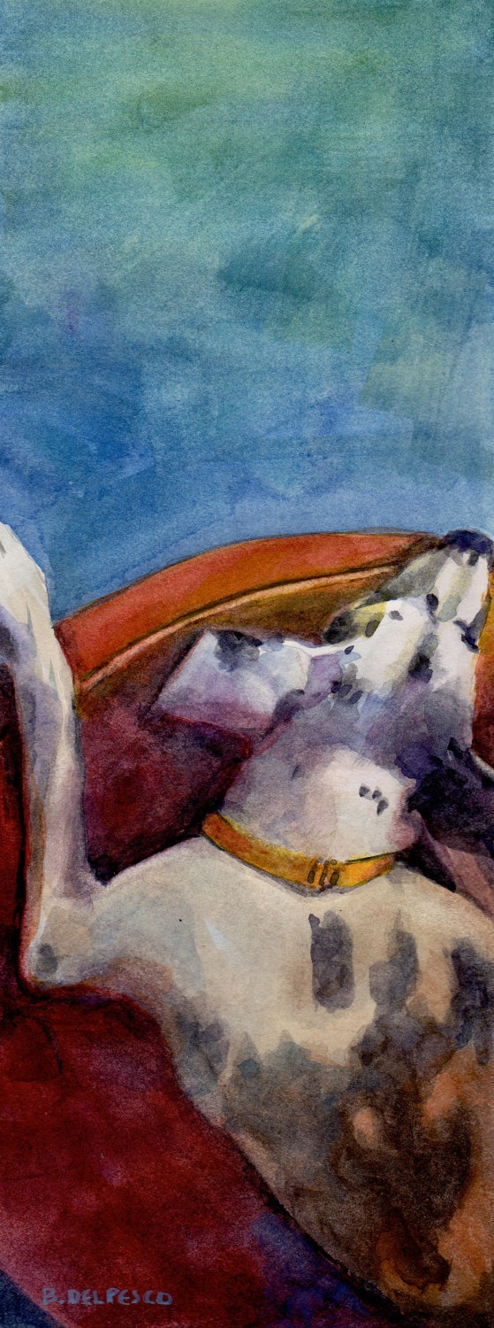 Original watercolor art for sale - Original Watercolor Big Dog Sleeping On A Round Bed By Bdelpesco