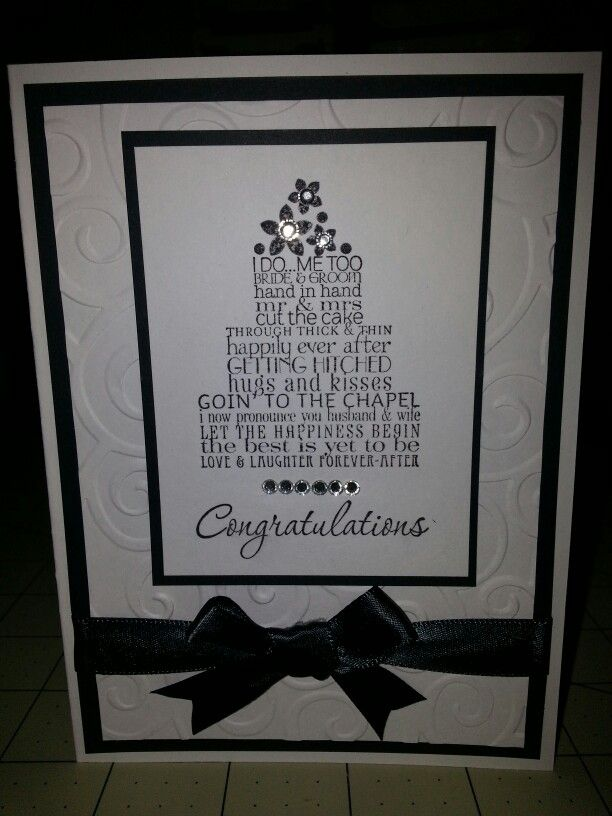 Stampin Up Love and Laughter wedding card! I used basic black and whisper white cardstock. Inked sentiment in basic black and I used basic jewels and basic black ribbon to jazz it up :) The background embossing folder I used was D'vine swirls. All items can be purchased via my stampin up store:  http://www.stampinup.net/esuite/home/acard4you  Happy stampin!