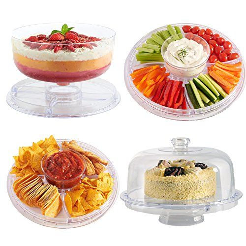 """VonShef 6 in 1 Multi-Function 12"""" Plastic Cake Stand with Dome Lid, Chip & Dip Platter, Punch Bowl and Salad Bowl VonShef http://www.amazon.com/dp/B00NHXOCKQ/ref=cm_sw_r_pi_dp_JKrkvb0ACC5BS"""