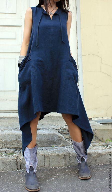 R00008 Сарафан длинный в пол платье длинное сарафан из льна платье льняное стильное длинное платье свободное платье льняной сарафан красивое платье платья свободное платье синее платье